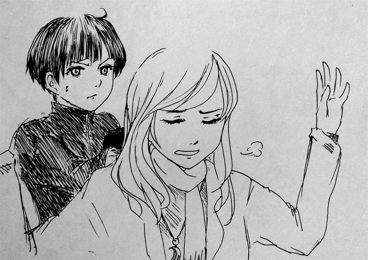 手绘女孩侧颜铅笔画