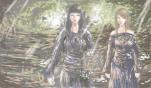 林荫小径上的唐月柔(左)和伊斯忒诺