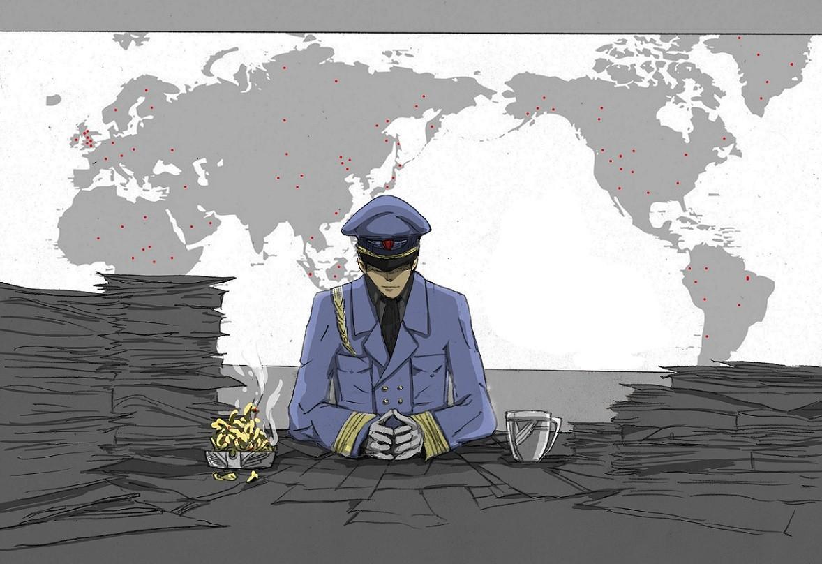 """""""战争比烟头还多。""""——《世界锁》,定制手绘插画!"""