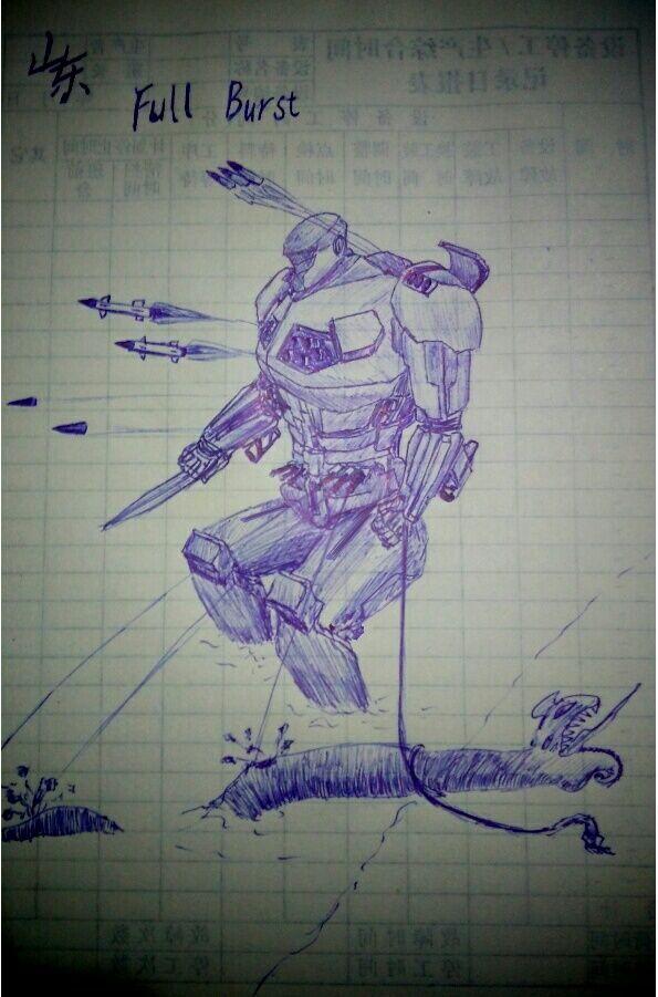 我根据小说描述绘制了机甲山东,作者表示跟他想象的很接近。此图是山东大招